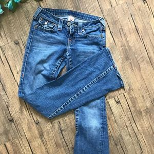 True Religion: Flare Blue Washed Jeans